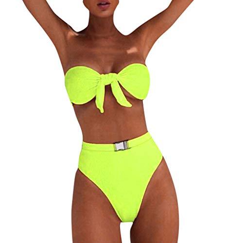 KUKICAT Damen Bikini Set Zweiteilige Badeanzug mit Push Up Crossover Bikinioberteil und Bikinihose Sexy Halter Bademode Bikini-Sets
