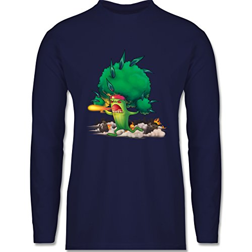Comic Shirts - Brokkoli Monster - Longsleeve / langärmeliges T-Shirt für Herren Navy Blau