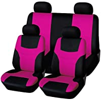 WINOMO 8 Stücke Autositzbezüge Set Universal (Fluoreszierendes Rosa)