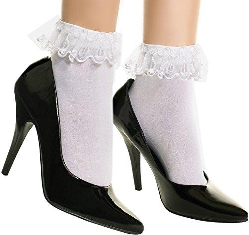 Spitze Rüschen Fußkettchen Socken, Pink -
