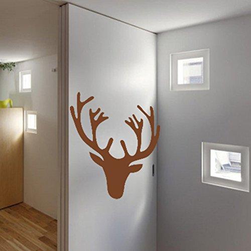 warme Hirschgeweih Hirschkopf Wand Dekor Aufkleber auf 57*64 CM, BRAUN (Braun 3d Schmetterling Wand-dekor)