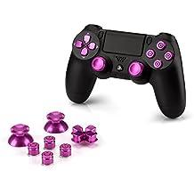 OKCS® Sony Playstation 4 Dualshock 4 Controller Aluminium Buttons pieza de repuesto Thumbsticks teclado D-Pad PS4 in Pink