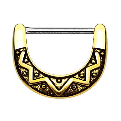 Piercingfaktor Brustpiercing Brustwarzen Intimpiercing Nippelpiercing Barbell Intim Nippel Brust Piercing Tribal Clicker Ring Schild Gold 1,2mm
