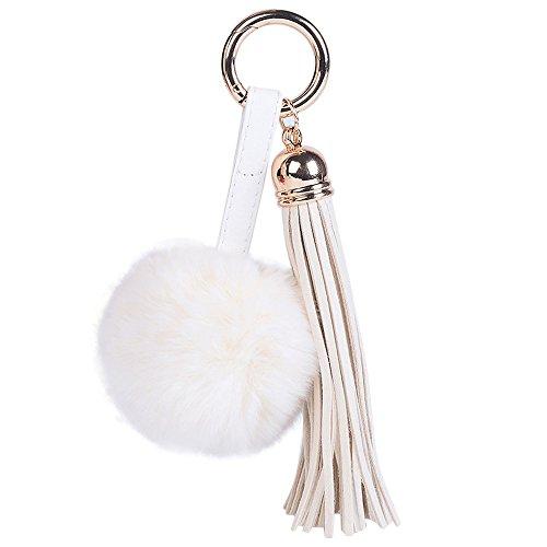 Porte-clés Lonshell Porte-clés de Mode Sac de Voiture en Peluche (Blanc)