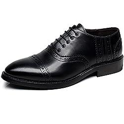 Rismart Uomo Moda Punta-Toe Scarpe di Vestito di Cuoio Classico Oxfords Commerciali Nero SN16898 EU43