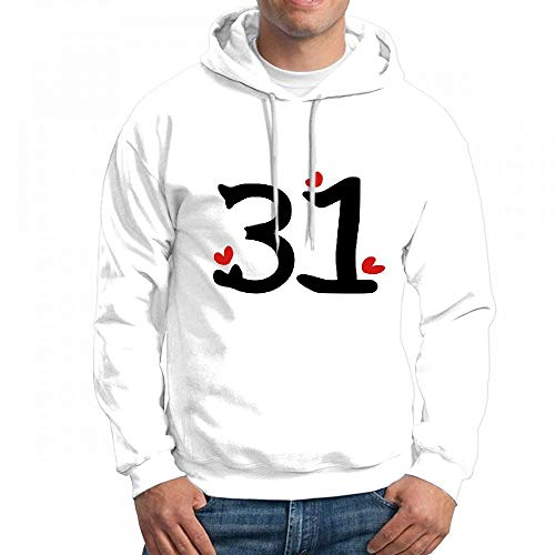 ruziniujidiangongsi Men's Sweatshir Number 31 TXT Red Hearts Custom Mens Hoodies
