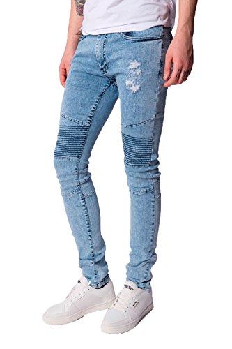 Herren Seven Series Cobra Säurewaschung Skinny Jeans Stich Streifen Denim-hose - Blau, 32 Waist 32 Leg (32R) (Gesäßtasche-jeans Blau-stich)