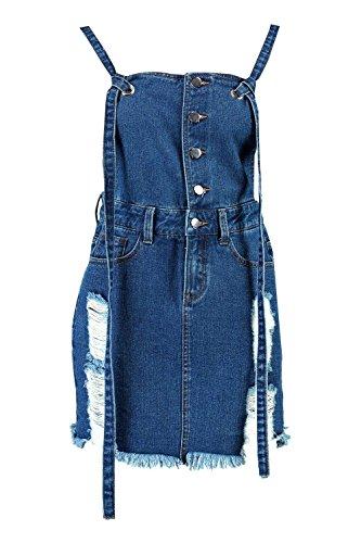 Mittleres Blau Damen Daisy Kittelkleid Aus Denim Mit Knopf Mittleres Blau