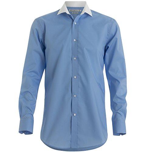 Kustom Kit Herren Business-Hemd Blau / Weiß