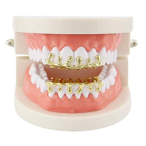 Top Bottom Tooth Caps für den Mund Unisex Hip Hop Zahngrills Set Row Drop Form Top und Bottom Teeth Caps Grills für Holleween Christmas Party Geschenk Zahngrills (Farbe: Gold)