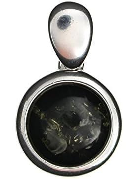 Runder grüner Anhänger Bernstein 925/000 Sterling Silber für Halsketten rhodiniert