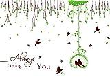 XPY-wall sticker Wandtattoos wandaufkleber Wandbilder Tapeten Wandsticker-Abnehmbarer Wandaufkleber-Liebesvogelwohnzimmerschlafzimmer Fernsehsofas-Hintergrundwandaufkleber-Gartenwandaufkleber