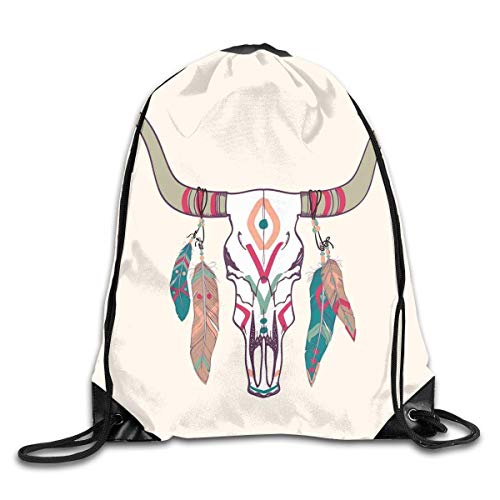 Bags,Texas Longhorn Steer Cow Skull Ethnic Style Aztec Colorful Feathers Hanging On Horns,5 Liter Capacity,Adjustable ()
