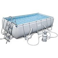 Bestway Power Steel Rectangular Frame Pool Set, hellgrau, mit Sandfilterpumpe + Zubehör, 404 x 201 x 100cm