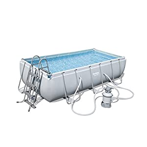 Bestway 56442 Piscina Power Steel Rectangular, Multicolor, M