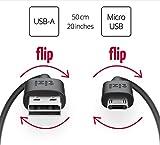 equinux tizi flip - Micro USB (50cm, schwarz) Daten- und Ladekabel mit doppelseitigen reversible Steckern. Micro USB und USB-A Stecker beidseitig steckbar. Kabel mit umkehrbaren Micro-USB Anschlüssen.