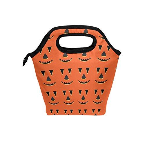 COOSUN Halloween Kürbis-Gesichter Muster Mittagessen Tote Bag Isolier-Cooler-Mittagessen-Beutel Wasserdichte Neopren-Mittagessen-Handtaschen Tote mit Reißverschluss für Outdoor-Reisen Picknick Groß