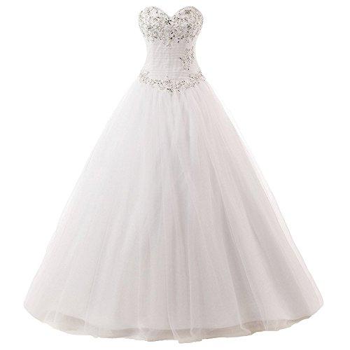 JAEDEN Damen Brautkleider Lang Hochzeitskleider A Linie Tüll Trägerlos Kleid für Braut Weiß...