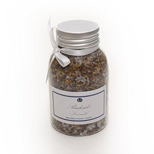 Badesalz 250 Gramm, 100% Natur, Frei von Schadstoffen, Mit natürlichen Inhaltsstoffen aus kontrolliertem Anbau, Hergestellt in Deutschland (Lavendel)