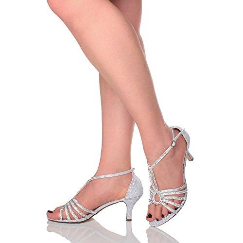 Femmes moyen talon élégant de mariée t-bar lanières sandales chaussures pointure Argent