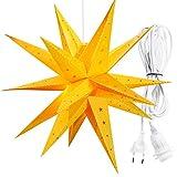 3D Faltstern Leuchtstern Adventsstern Weihnachtsstern mit 18 Zacken Stern 3D Kunststoff Ø 60cm Fensterstern hängend 3,5 m Zuleitung mit E27 Fassung (Gelb Neu ohne Lampe)