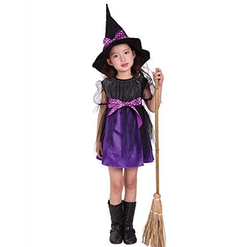 der Baby Mädchen Halloween Kleidung Kostüm Kleid Haarband und Fledermaus Flügel Outfit (115-125CM, Lila 1) (Kleinkind-mädchen-halloween-kostüm)