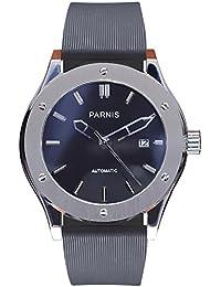 LIV MORRIS PARNIS 2044 0732066354291 - Reloj para hombres, correa de goma color negro