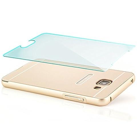 Coque aluminium + Verre Trempé Samsung Galaxy A5 (2016) [Saxonia] Métal Housse Bumper rigide Case | Housse Etui Protection Verre Acrylique Verso