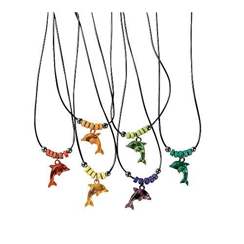 Fun Express Acrylic Dolphin Necklace with Jewel Eyes (1 Dozen)