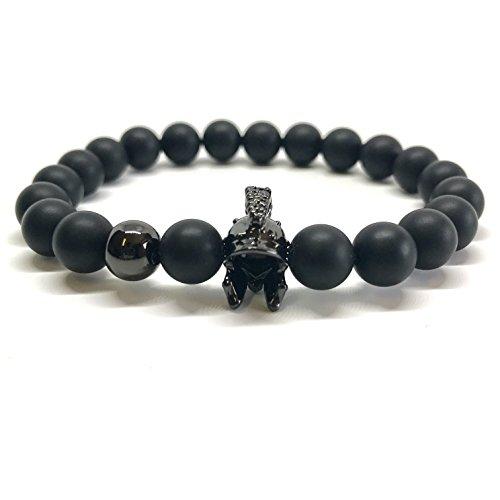 GOOD.designs Gladiatore-Bracciale in vera nero Naturale-pietre Onice, Chakra-ciondolo, motivazione-braccialetti
