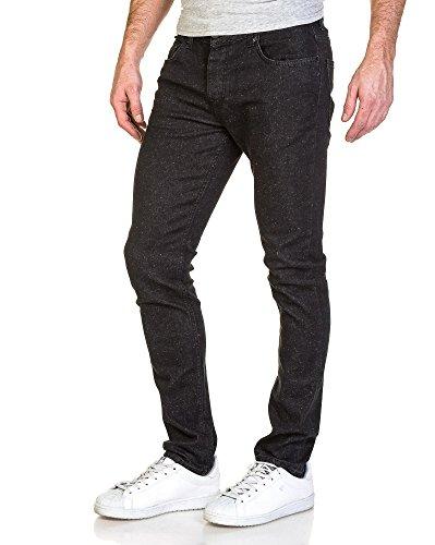 Republic Denim - Mann Jeans schlank schwarz gesprenkelt Schwarz