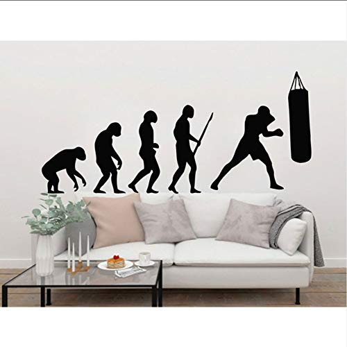 Hwhz 55X25 Cm Darwin Boxing Evolution Wandtattoo Wandkunst Vinyl Aufkleber Gym Schlafzimmer Boxen Wandbild Tapete Kunst Pic