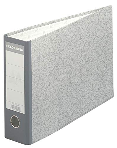 Exacompta 53310E Ordner (Wolkenmarmoriert, mit 2 ringen, 70 mm rücken, DIN A4 quer) 1 Stück grau