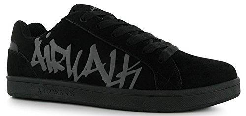 Junior Garçons entièrement lacées jusqu'Neptune Graffiti skate chaussures Noir