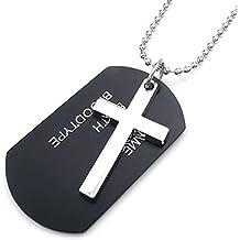 AnaZoz Joyería de Moda Collar de Hombre Acero Inoxidable Cruz Etiqueta de Perro Colgante Collar Army 27Pulgadas Link Negro Plata Joyería de Moda Para Hombre