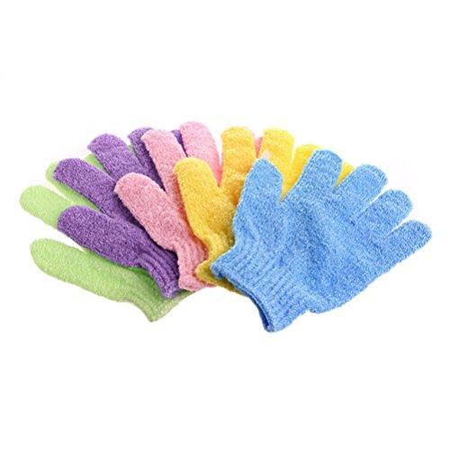 ULTNICE Exfoliating Bath Gloves for Body Scrub Exfoliator 4 Pairs