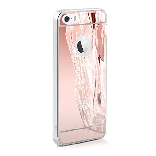 kwmobile Hülle für Apple iPhone SE / 5 / 5S - TPU Silikon Backcover Case Handy Schutzhülle - Cover klar Weltkarte Umriss Design Gold Transparent .Rosegold spiegelnd