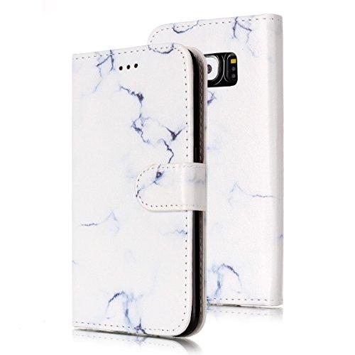 Samsung Galaxy S6 Custoida in Pelle Portafoglio,Samsung Galaxy S6 Cover Pu Wallet,KunyFond Lusso Moda Marmo Dipinto Leather Flip Protective Cover con Bella Modello Cover Custodia per Samsung Galaxy S6 Marmo bianco