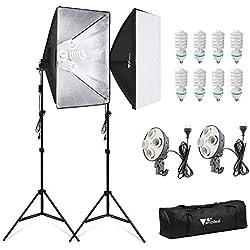 amzdeal Softbox 2 Kit Éclairage, 4 en 1 Softbox 50×70cm - 4 Fois Plus Puissant avec 8 Ampoules 135W 5500K, Lumière Continue pour Portrait Objet Enregistrement Vidéo