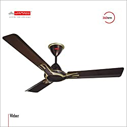 JANAKI WEBER 1200mm Sweep 60-Watt Ceiling Fan (Brown,Pack of 2)