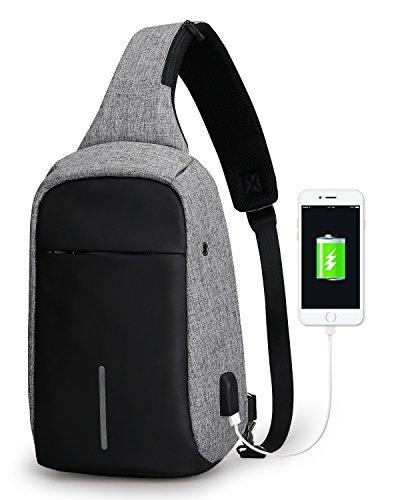 Mark Ryden Anti-Diebstahl-Sling-Schulter-Umhängetasche Rucksack Casual Day Pack Mit USB-Ladegerät Für Männer Frauen -