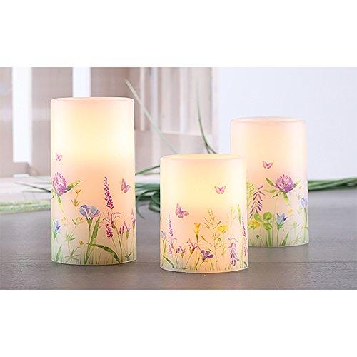 3piezas Oster velas LED de cera de velas Juego de Leuchten Cera sin llama Pascua con mando a distancia color blanco diseño de flores de pascua