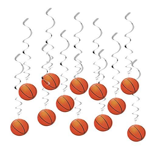 FLAMEER 12er-Set Glitzer Folienspiralen Dekospiralen Spirale Girlande mit Basktball Hängedeko