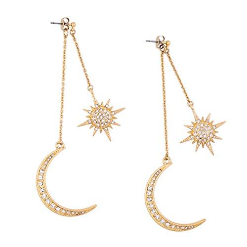 LnLyin Gold Romantische Hexagramm Ohrringe Mode übertrieben Sonnen Mond Ohrringe