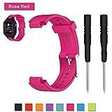 Pour Garmin Forerunner 25 GPS Running Bracelet, Bemodst remplacement Bracelet accessoire sangle en silicone souple Classic Sports Band Bracelet réglable, parfait pour homme, femme ou Couple - 8 couleurs disponibles (Rose Red/Female)