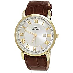 NY London Designer Slim, Brown, Gold, Men's Leather Wrist Watch with Date, Super Flat + Watch Box