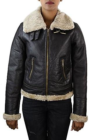 Veste cuir femme peau de mouton retournée marron ivoire style aviateur