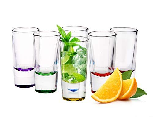 6 Schnapsgläser Tequilagläser Schnaps Shots Wodkagläser Stamper Bunte Gläser