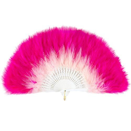 ArtiDeco Damen Fächer Marabou Feder 1920s Vintage Stil Retro Handfächer Damen Gatsby Kostüm Flapper Zubehör (Pink Rose Rot)