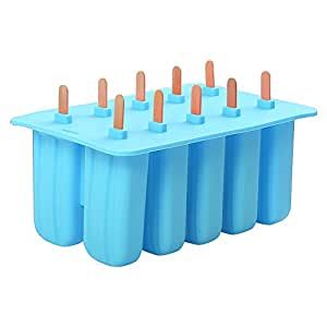 LEMAIKJ Georgia 10 Silicone Gel Mold Cream Mould Popsicle Ice Tray Puck Popsicle Mold Ice Cream Silicone (Blue)